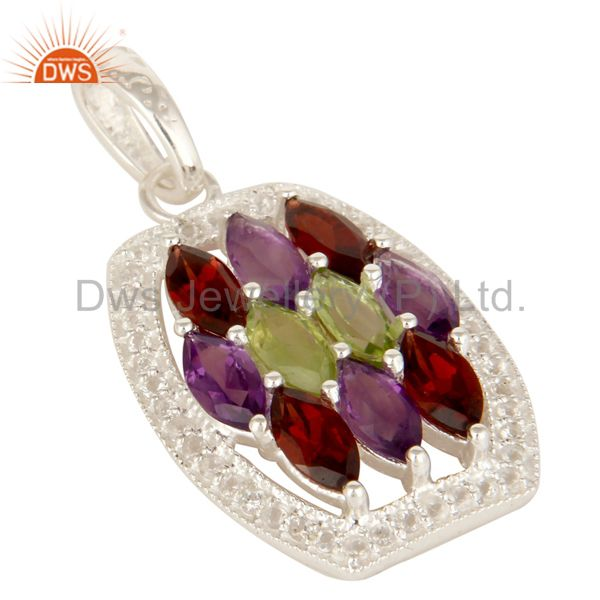 Exporter Amethyst, Garnet And Peridot Sterling Silver Cluster Pendant With White Topaz