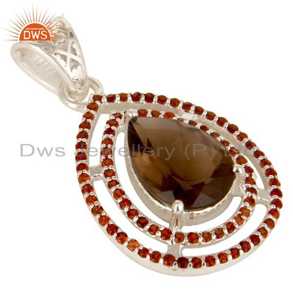 Exporter Designer Garnet And Smoky Quartz Gemstone Sterling Silver Drop Pendant
