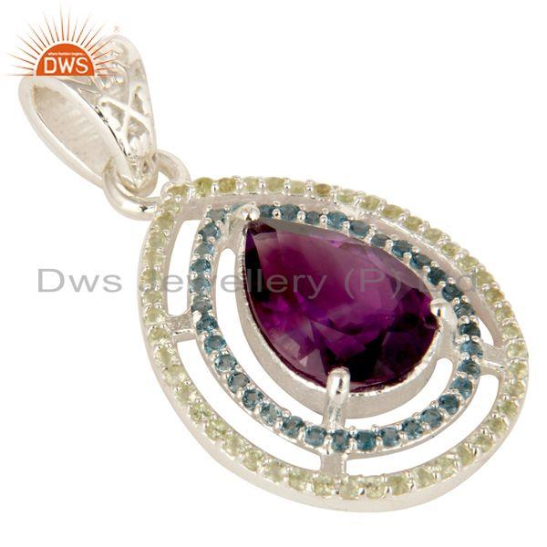 Exporter Amethyst, Blue Topaz And Peridot Prong Set Gemstone Sterling Silver Drop Pendant
