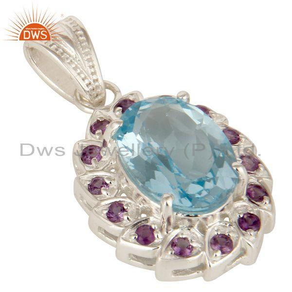 Exporter 925 Sterling Silver Natural Amethyst With Blue Topaz Gemstone Cluster Pendant
