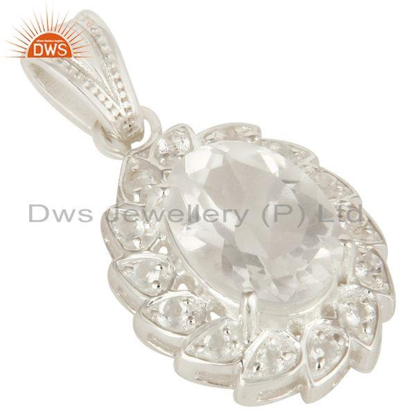 Exporter Natural Crystal Quartz And White Topaz Sterling Silver Pendant