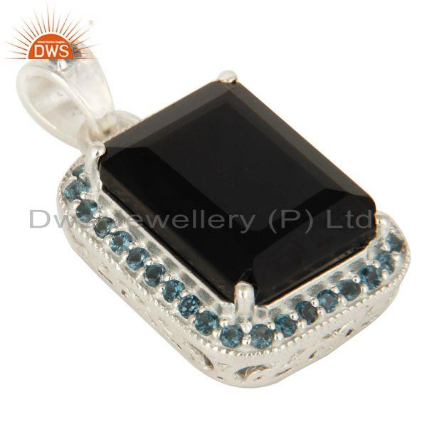 Exporter 925 Sterling Silver Black Onyx And Blue Topaz Gemstone Pendant Jewelry