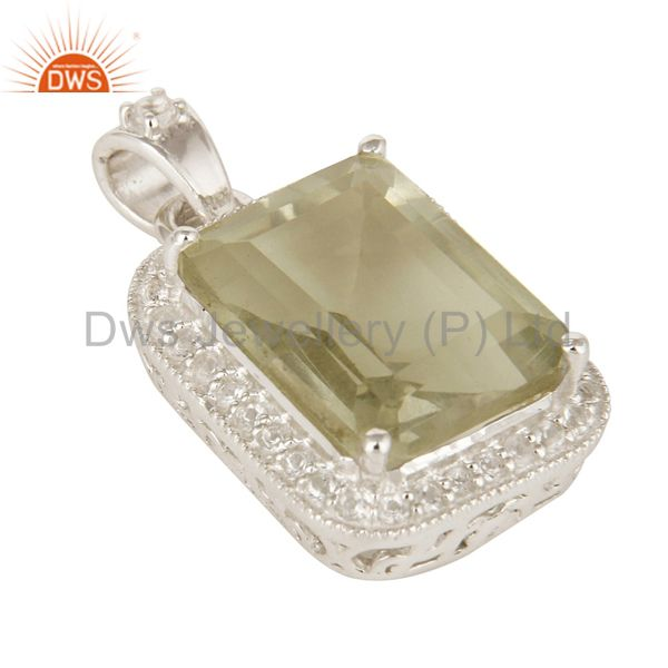 Exporter Green Amethyst Gemstone 925 Sterling Silver Prong Set Pendant With White Topaz