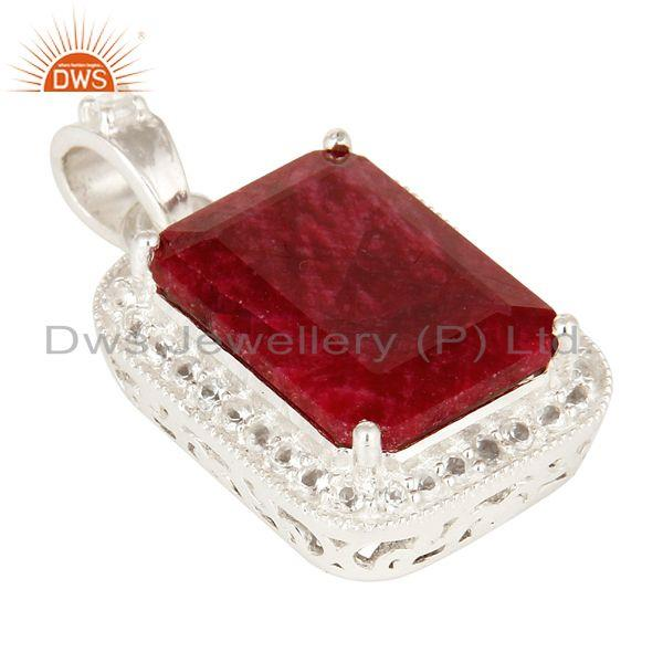 Exporter 925 Sterling Silver Dued Ruby Corundum And White Topaz Gemstone Pendant