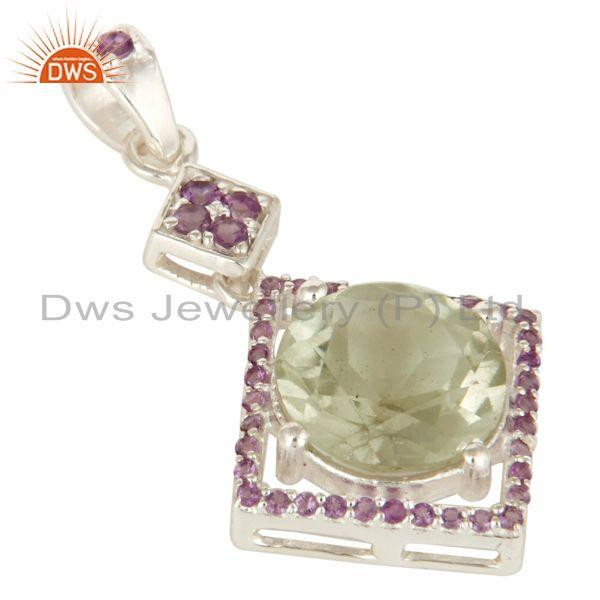 Exporter Handcrafted Sterling Silver Green Amethyst And Purple Amethyst Pendant