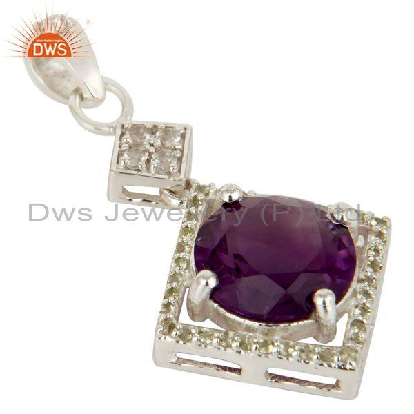 Exporter Amethyst, Peridot and White Topaz Sterling Silver Gemstone Cluster Pendant