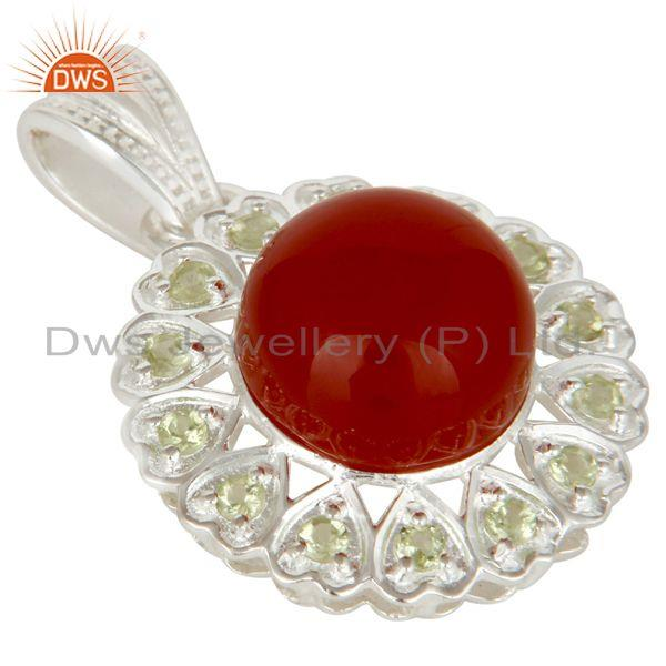 Exporter 925 Sterling Silver Red Onyx And Peridot Designer Fine Gemstone Pendant