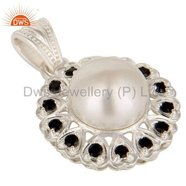 Exporter Natural Pearl And Black Onyx Gemstone Solid Sterling Silver Heart Pendant