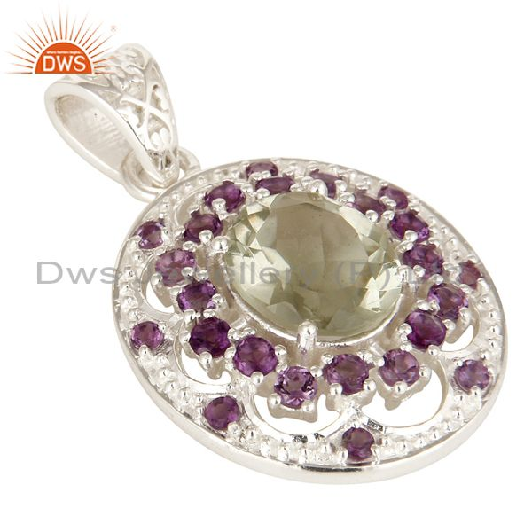 Exporter Natural Amethyst And Prasiolite Gemstone Fine Sterling Silver Pendant Jewelry
