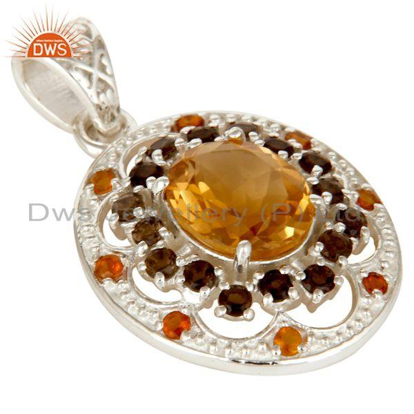 Exporter Natural Citrine and Smokey Gemstone Solid Sterling Silver Cluster Pendant