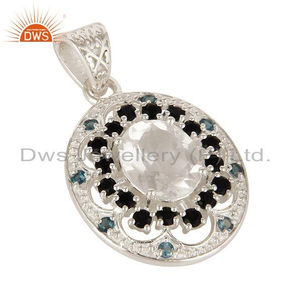 Exporter Blue Topaz, Crystal Quartz And Black Onyx Sterling Silver Stone Cluster Pendant