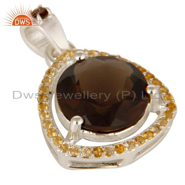 Exporter Handcrafted Sterling Silver Citrine And Smoky Quartz Prong Set Pendant