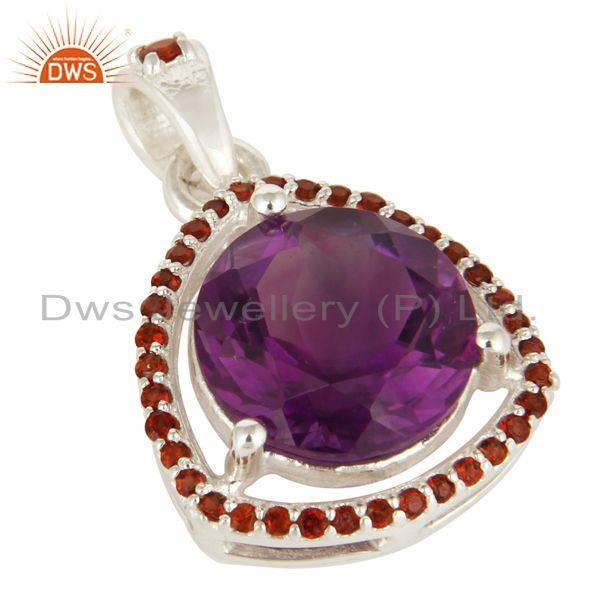 Exporter 925 Sterling Silver Amethyst 12mm Round And Garnet Prong Set Gemstone Pendant