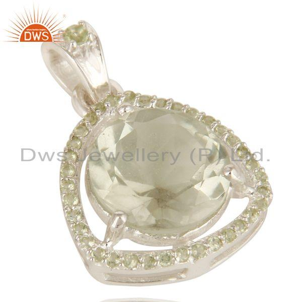 Exporter Natural Green Amethyst And Peridot Gemstone Sterling Silver Pendant