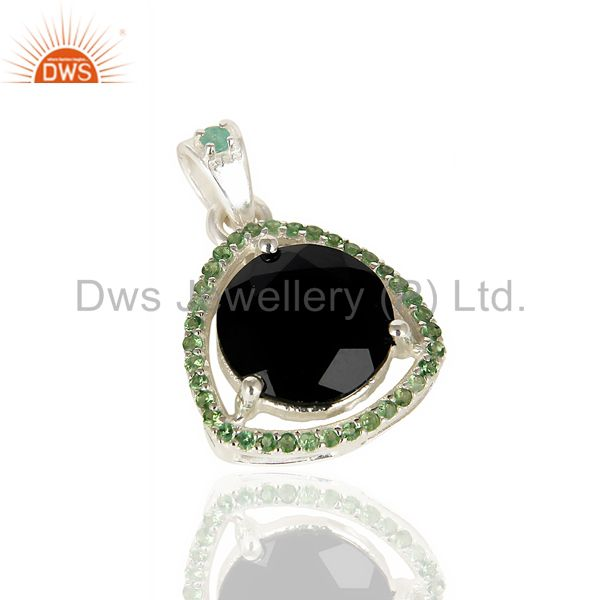Exporter Tsavorite Studded Black Onyx Triangle Pendent Solid 92.5 Sterling Silver Pendent