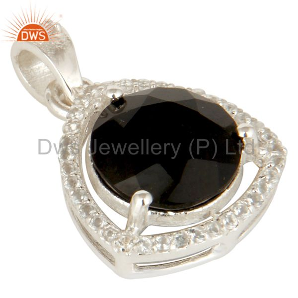Exporter 925 Sterling Silver Natural Black Onyx With White Topaz Gemstone Cluster Pendant