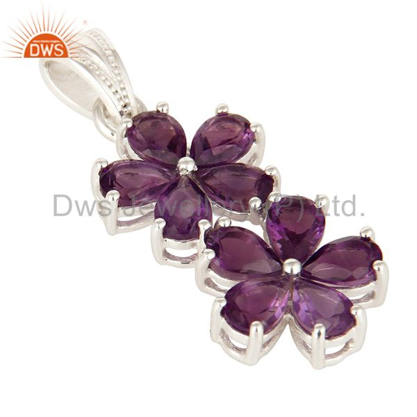 Exporter Natural Purple Amethyst 925 Sterling Silver Gemstone Double Flower Pendant