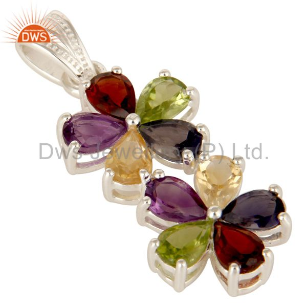 Exporter 925 Sterling Silver Mix Colored Gemstone Double Flower Pendant