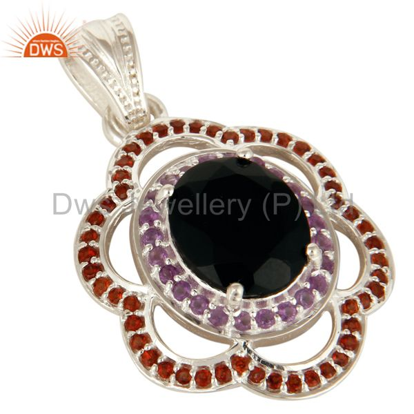 Exporter 925 Sterling Silver Black Onyx And Garnet Gemstone Designer Pendant