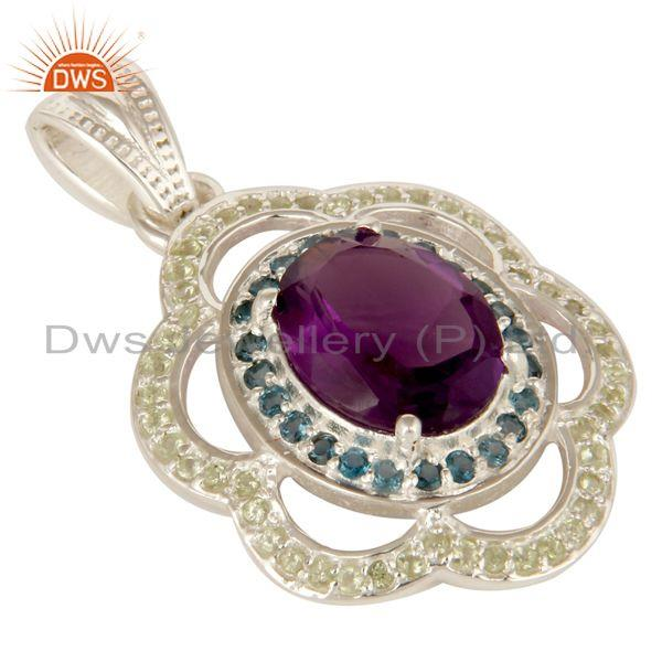 Exporter Amethyst, Blue Topaz And Peridot Gemstone Prong Set Sterling Silver Pendant