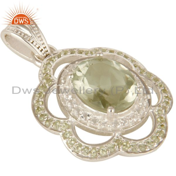 Exporter 925 Sterling Silver Green Amethyst And Peridot Gemstone Pendant With White Topaz