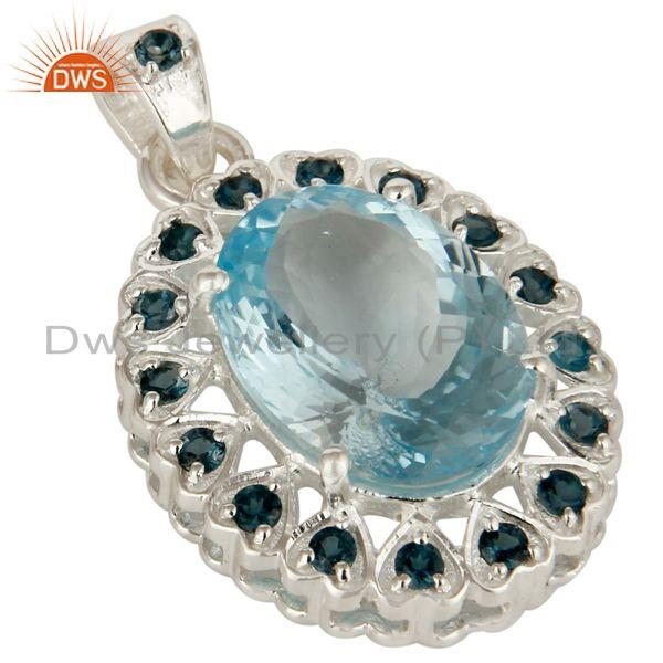 Exporter Natural London Blue Topaz Prong Set Gemstone Sterling Silver Pendant Jewelry