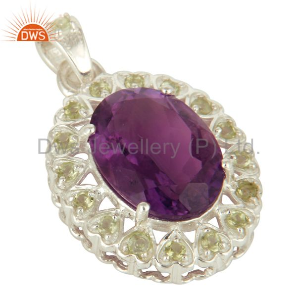 Exporter 925 Sterling Silver Purple Amethyst And Peridot Prong Set Pendant