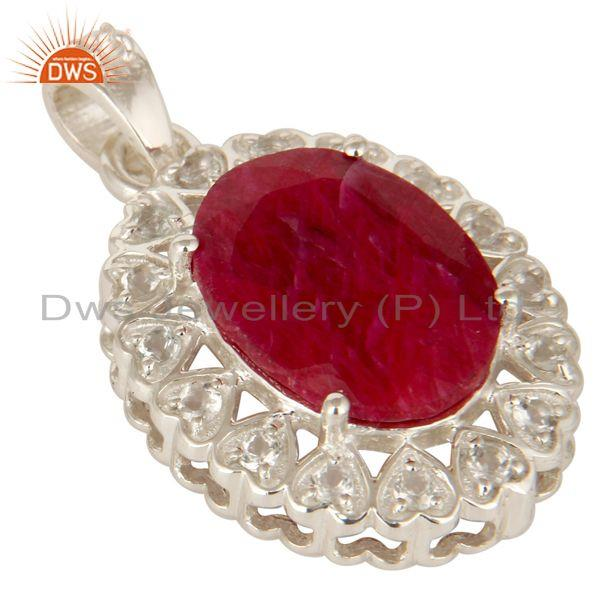 Exporter Natural Ruby Corundum Gemstone Sterling Silver Pendant With White Topaz