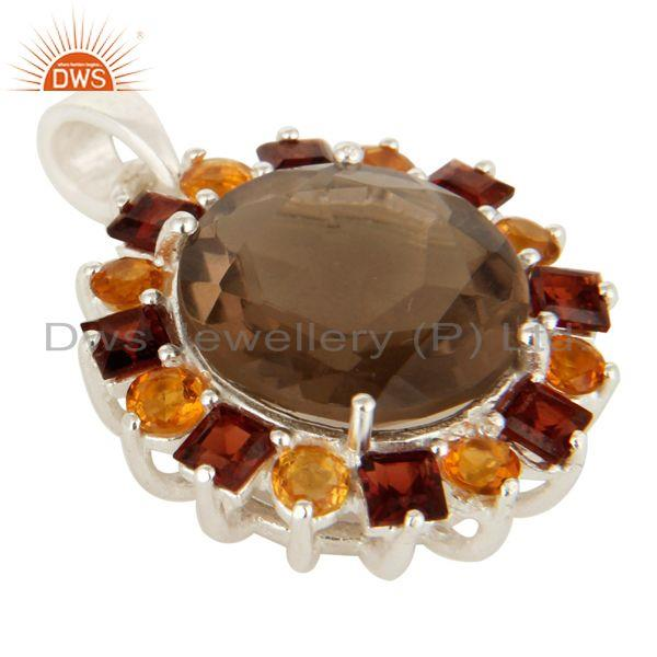 Exporter Smoky Quartz, Citrine And Garnet Sterling Silver Gemstone Cluster Pendant Jewelr