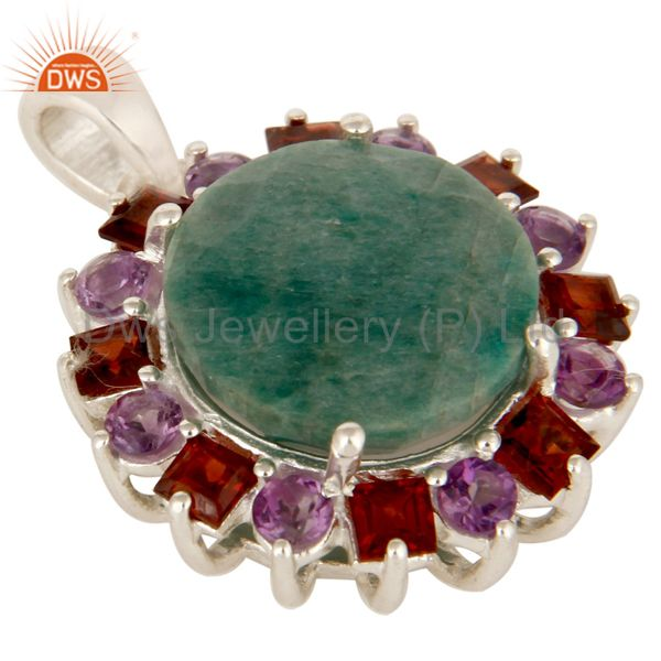 Exporter 925 Solid Sterling Silver Green Corundum, Amethyst And Garnet Cluster Pendant