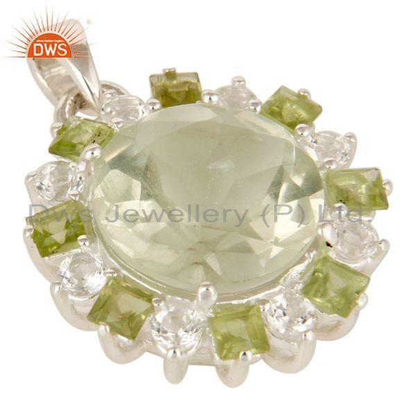 Exporter Green Amethyst, Peridot And White Topaz Prong Set Pendant In Sterling Silver