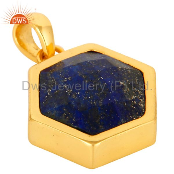 Exporter 925 Sterling Silver Lapis Lazuli Gemstone Hexagon Shape Pendant With Gold Plated
