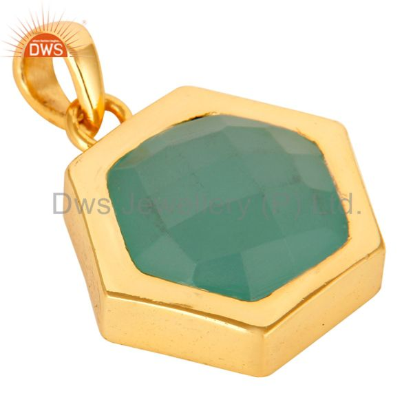 Exporter Green Aqua Glass Sterling Silver With 14k Yellow Gold Plating Fashion Pendant