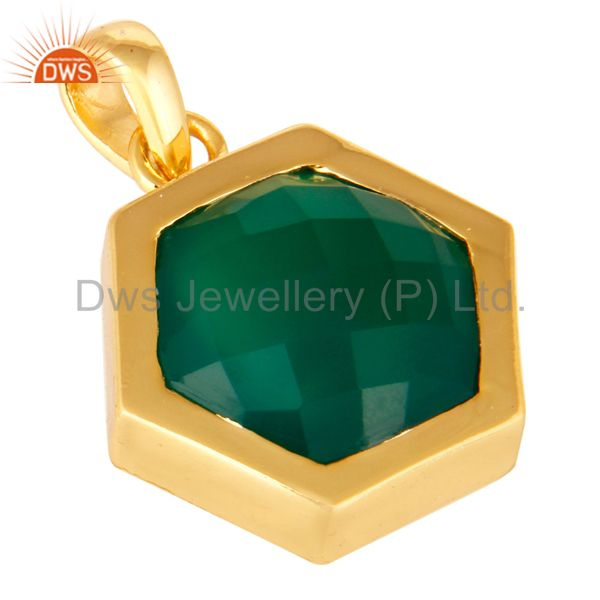 Exporter Faceted Green Onyx Gemstone Sterling Silver Pendant With Gold Plated
