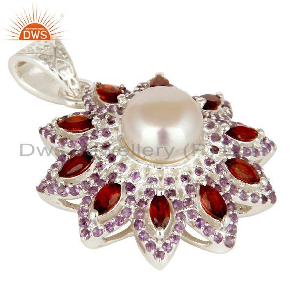 Exporter Natural Amethyst, Garnet And White Pearl Sterling Silver Flower Design Pendant