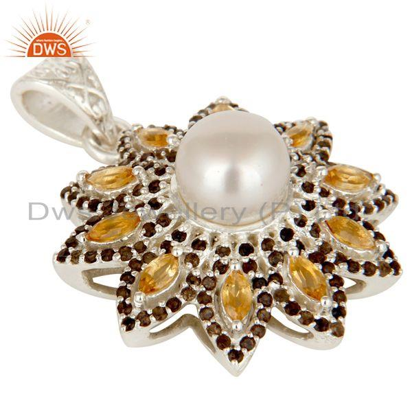 Exporter Natural Citrine Smokey And White Pearl Sterling Silver Flower Design Pendant