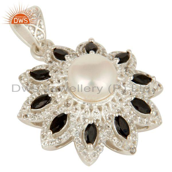 Exporter 925 Sterling Silver White Pearl, Black Onyx And White Topaz Designer Pendant
