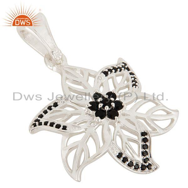 Exporter Natural Black Spinel Gemstone Sterling Silver Designer Leaf Pendant Jewelry