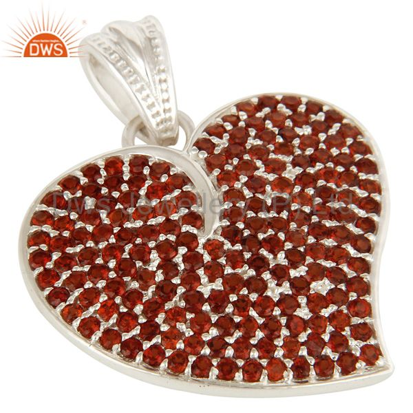 Exporter 925 Sterling Silver Micro Pave Set Garnet Gemstone Heart Shape Pendant For Women