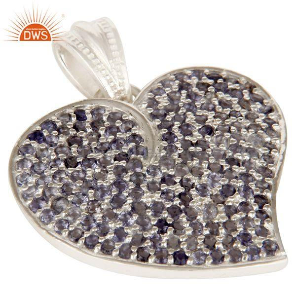 Exporter 925 Sterling Silver Micro Pave Set Iolite Gemstone Heart Shape Pendant For Women