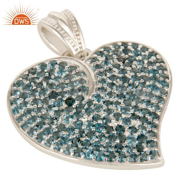 Exporter Designer Sterling Silver London Blue Topaz Gemstone Cluster Heart Pendant