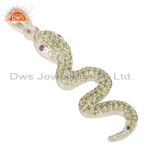 Exporter Peridot And Amethyst Gemstone Cluster Snake Design Pendant In Sterling Silver