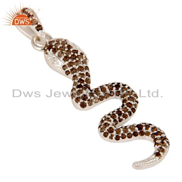 Exporter Smokey and White Topaz Gemstone Cluster Snake Design Pendant In Sterling Silver