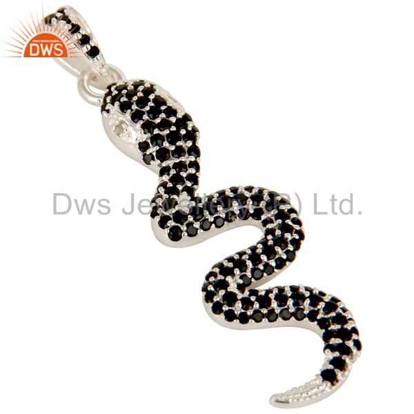 Exporter 925 Sterling Silver Snake Design Pendant With Black Spinal, Black Onyx And Topaz