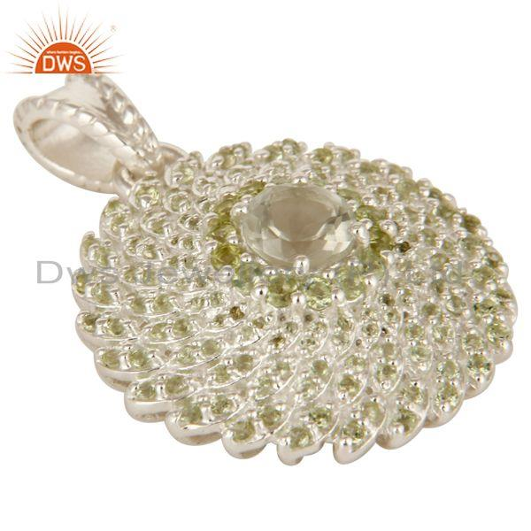 Exporter Designer Sterling Silver Green Amethyst And Peridot Floral Cluster Pendant