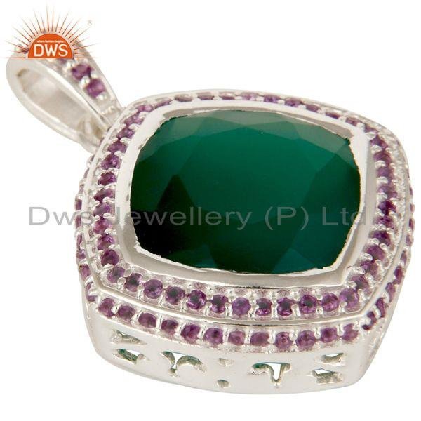 Exporter 925 Sterling Silver Amethyst And Green Onyx Cushion Cut Fine Gemstone Pendant