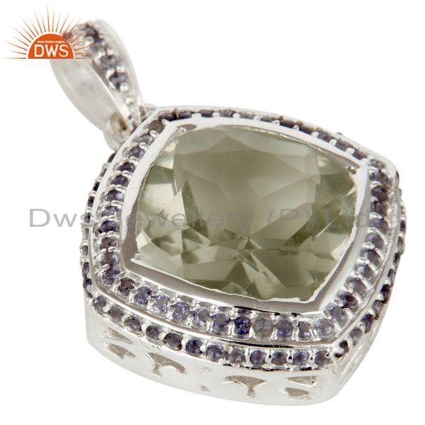 Exporter 925 Sterling Silver Green Amethyst And Iolite Gemstone Cluster Pendant