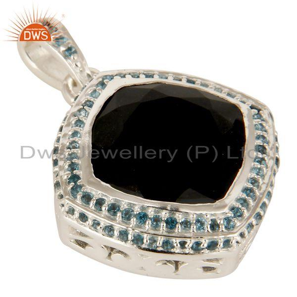 Exporter 925 Sterling Silver Black Onyx Cushion Cut And Blue Topaz Gemstone Pendant