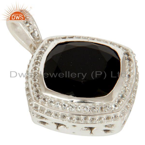 Exporter 925 Sterling Silver Black Onyx and White Topaz Gemstone Pendant