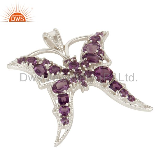 Exporter 925 Sterling Silver Natural Amethyst Gemstone Butterfly Designer Pendant Jewelry